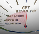 Speedometer Get Results Action Plan Problem Solution — Stock Photo