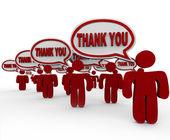Muchos clientes decir gracias en burbujas de discurso — Foto de Stock