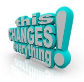 Isto muda tudo, palavras de estratégia para melhorar e evoluir — Foto Stock