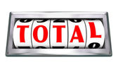 Total Word Odometer Tracking Wheels Slots Totaling Number — Stock Photo