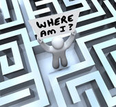 Where Am I Person Holding Sign Lost in Maze — Stock Photo
