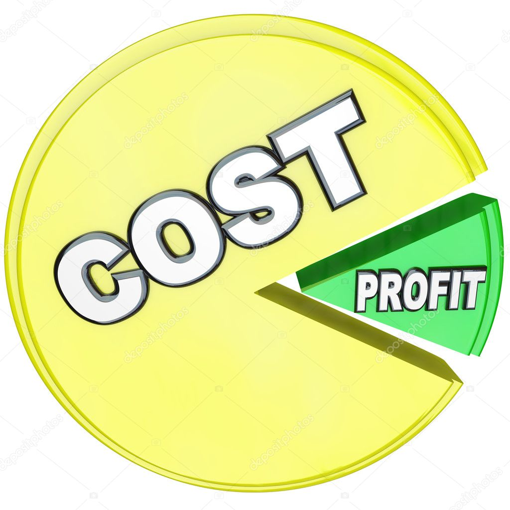 A big yellow pie share marked Cost threatens to eat a smaller green piece marked Profits, symbolizing a business whose costs have become too high in relation to revenue — Stock Photo #10478652