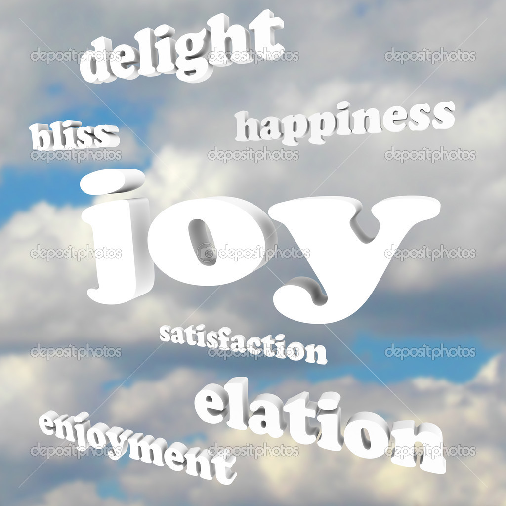 A Word Of Happiness: Joy Words In Cloudy Sky Satisfaction Happiness