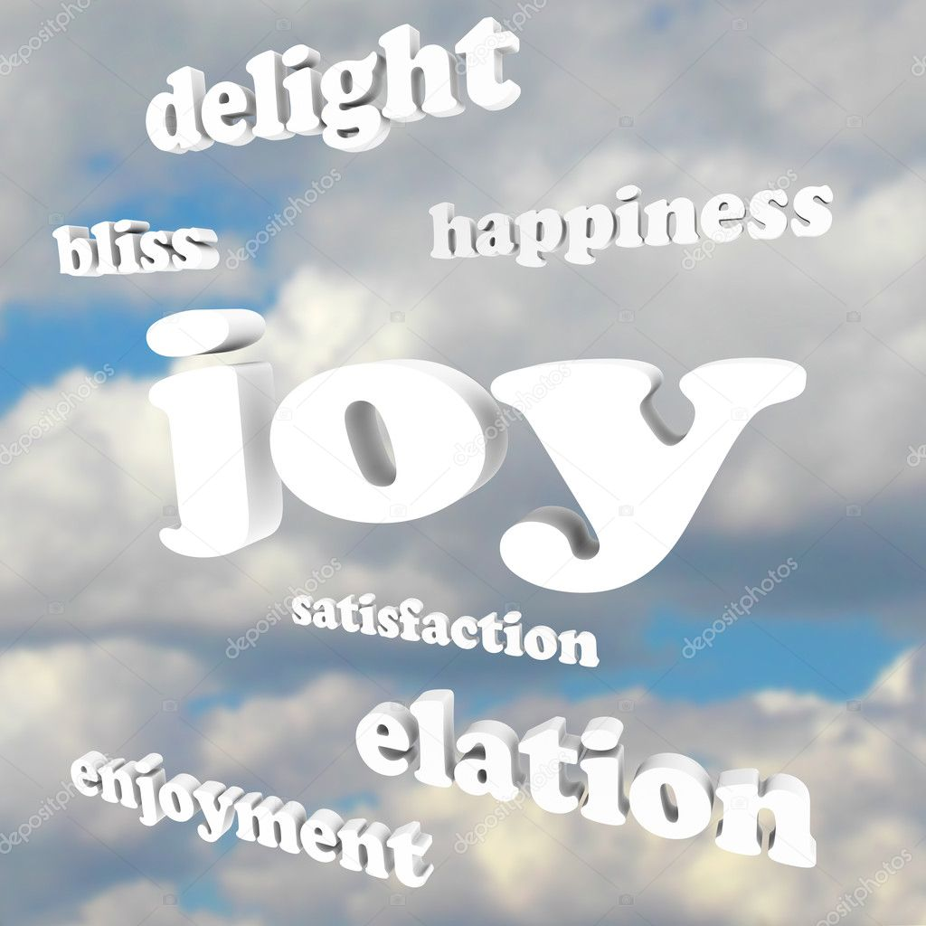 The word Joy and many related words and terms in 3d letters against a cloudy blue sky, including enjoyment, bliss, delight, elation and satisfaction — Stock Photo #10478674