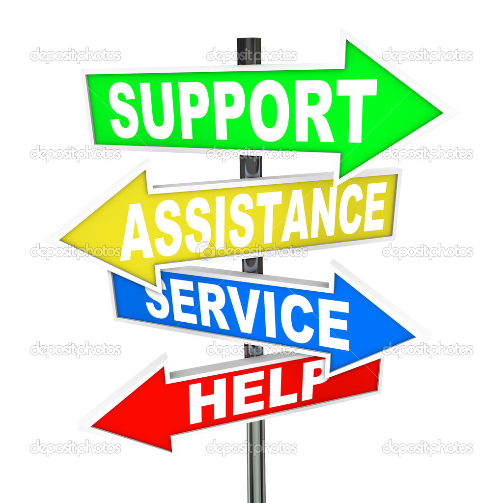 Many colorful arrow signs point to a solution to your problem, offering support, assistance, service and help to give advice in finding an answer to your trouble — Stock Photo #10478720