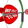 Stock Photo: We Play to Win - Bow Arrow and Target Success Winning