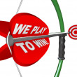 Royalty-Free Stock Photo: We Play to Win - Bow Arrow and Target Success Winning