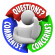 Questions Comments Concerns Customer Support Diagram - Stock Photo