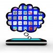 Smart Phone Thinking of Apps Software Thought Cloud — Foto de Stock