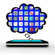 Smart Phone Thinking of Apps Software Thought Cloud — Foto Stock