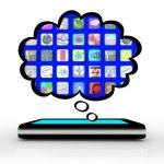telefono intelligente, pensando di software apps pensato nuvola — Foto Stock