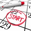 Start Word Calendar Starting Day Circled Date Marker — Stock Photo