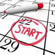 Start Word Calendar Starting Day Circled Date Marker - Stock Photo