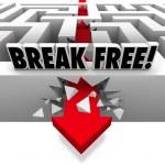 Arrow Breaks Free Through Maze to Freedom — Stock Photo