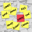 Stress Burdens Sticky Notes Reminders for Stressful Life - Stock Photo