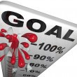 Percentage Progress to Goals Thermometer Growth Success - Stock Photo