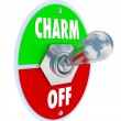 Turn on the Charm Toggle Switch Be Charismatic - Stockfoto