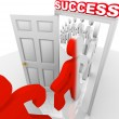 Walking Through Success Doorway Achieve Goals — Stock Photo
