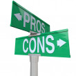 Pros and Cons Two-Way Street Signs Comparing Options — Stock Photo