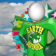 Earth Defender Super Hero Environmentalist Activist - Stok fotoraf