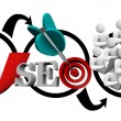 Search Engine Optimization SEO Diagram Increase Traffic — Stock Photo