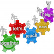 Together Let\'s Reach New Heights Team on Gears - Stock Photo