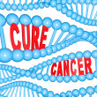Stock Photo: Cure Cancer Words in DNStrands Medical Research