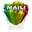 Mail Word in Envelope Open Correspondence Message - Stock Photo
