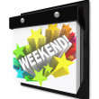 Weekend Word on Wall Calendar Fun Plans Time Off — Stockfoto