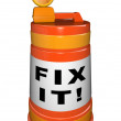 Fix It Words on Orange Construction Barrel How to Repair — Stock Photo