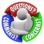 Preguntas comentarios las preocupaciones del cliente soporte diagrama — Foto de Stock