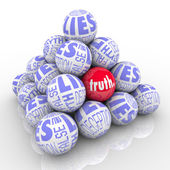 The Truth Hidden Among Lies Pyramid of Stacked Balls — Stock Photo