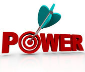 Power Word Arrow Hitting Strength Target Bulls-Eye — Stock Photo