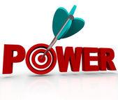 Power Word Arrow Hitting Strength Target Bulls-Eye — Stock Photo
