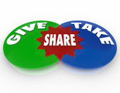 Give and Take Share Venn Diagram Giving Taking — Stock Photo