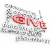 Give 3d Words Background Generosity and Contribution — Stock Photo