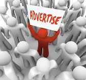 Advertise Man Holds Banner Sign to Attract Customers in Crowd — Stock Photo