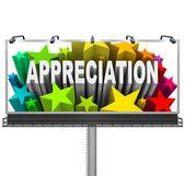Riconoscimento di billboard apprezzamento del buon lavoro — Foto Stock