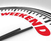 Weekend Word on Clock Time for Fun and Relaxation — Stock Photo
