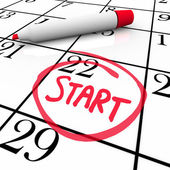 Démarrer le calendrier mot à partir de marqueur de date jour cerclée — Photo