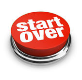 Start Over Renewal Restart Round Red Button — Stock Photo