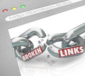 Bad Broken Links Website Screen Chain Connections — Stock Photo