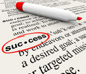 Success Word Definition Meaning Circled in Dictionary — Stok fotoğraf