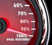 La aguja del velocímetro llega a 100 por ciento objetivo alcanzado — Foto de Stock