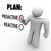 Plan Proactive or Reactive Strategy Choose to Take Charge — Stock Photo