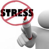 Hiçbir stres adam stresli anksiyete azaltmak için eğik çizgi çizer — Stok fotoğraf