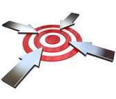 Four Competing Arrows Point at Bulls-Eye Target — Stock Photo