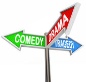 Comedy Drama Tragedy - 3 Colorful Arrow Signs Theatre — Stock Photo