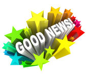 Good News Announcement Message Words in Stars — Foto de Stock