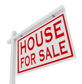 House for Sale White Sign Advertise Home Real Estate — Stock Photo
